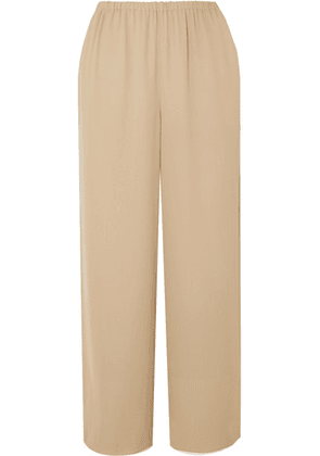 Theory - Cropped Silk-crepe Straight-leg Pants - Beige