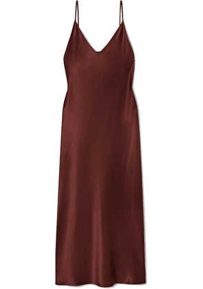 Joseph - Clea Silk-satin Midi Dress - Brown