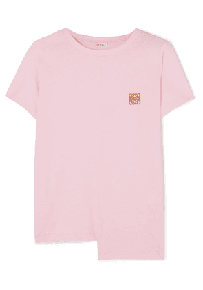 Loewe - Asymmetric Embroidered Cotton-jersey T-shirt - Pink