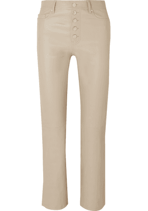 Joseph - Den Cropped Leather Slim-leg Pants - Beige