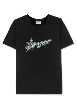 SAINT LAURENT - Printed Cotton-jersey T-shirt - Black
