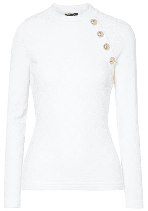 Balmain - Button-embellished Jacquard-knit Sweater - White