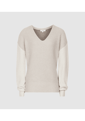 Reiss Audrey - V-neck Ribbed Jumper in Neutral/white, Womens, Size M