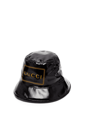 6628710a3 Gucci - Logo Print Coated Cotton Bucket Hat - Mens - Black