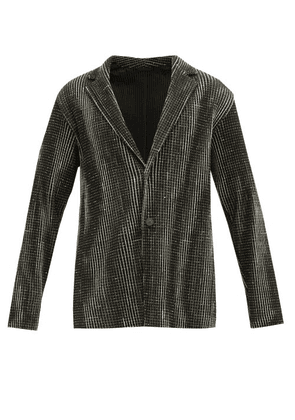Homme Plisse Issey Miyake - Network Single Breasted Checked Plissé Blazer - Mens - Black