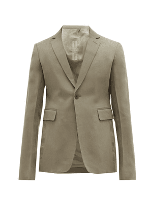 Rick Owens - Single Breasted Cropped Wool Blazer - Mens - Grey
