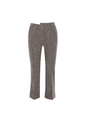 Atlein Cropped Wool-blend Tweed Bootcut Pants Woman Anthracite Size 38