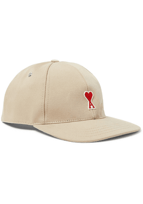 AMI - Logo-appliquéd Cotton-twill Baseball Cap - Beige