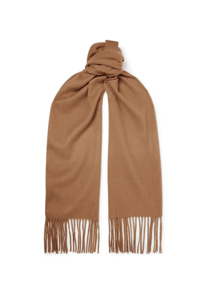 Mulberry - Logo-embroidered Fringed Cashmere Scarf - Camel