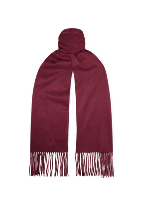Mulberry - Logo-embroidered Fringed Cashmere Scarf - Crimson