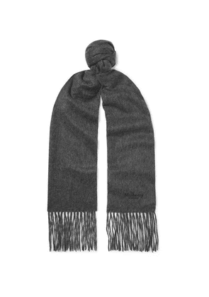 Mulberry - Logo-embroidered Fringed Mélange Cashmere Scarf - Dark gray
