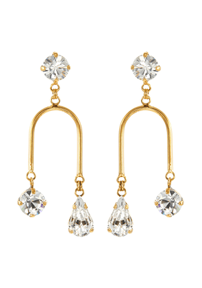 'Falling Water' Swarovski crystal curved bar drop earrings