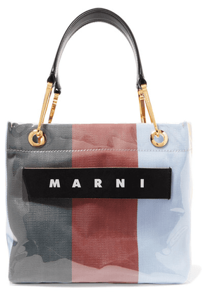 Marni - Grip Leather-trimmed Striped Canvas And Pvc Tote - Burgundy