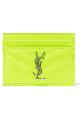 SAINT LAURENT - Monogramme Quilted Neon Textured-leather Cardholder - Yellow