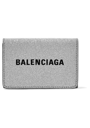 Balenciaga - Everyday Printed Glittered Leather Wallet - Silver