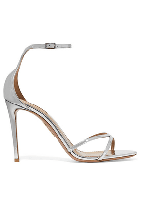 Aquazzura - Purist 105 Mirrored-leather Sandals - Silver