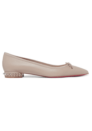 Christian Louboutin - Hall Spiked Leather Point-toe Flats - Beige