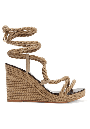 Jimmy Choo - Allis 95 Leather-trimmed Rope Wedge Sandals - Beige