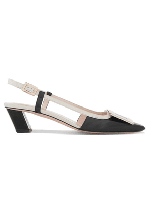 Roger Vivier - Belle Vivier Two-tone Leather Slingback Pumps - Black