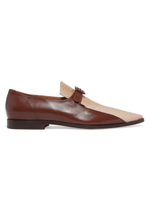 Dries Van Noten - Smooth And Snake-effect Leather Loafers - Beige