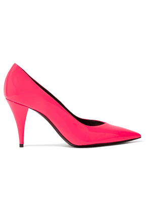 SAINT LAURENT - Kiki Neon Patent-leather Pumps - Fuchsia