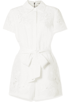Alice + Olivia - Lanna Guipure Lace-trimmed Lyocell And Linen-blend Playsuit - Ivory