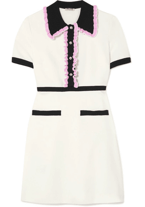 Miu Miu - Crystal-embellished Ruffled Stretch-cady Mini Dress - Ivory