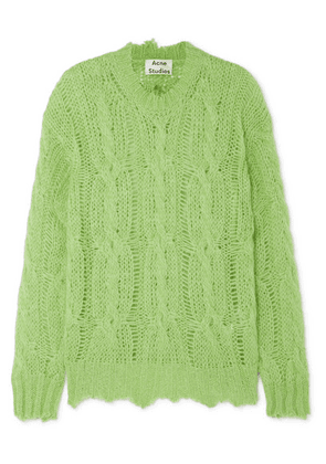 Acne Studios - Kelenal Frayed Cable-knit Sweater - Lime green