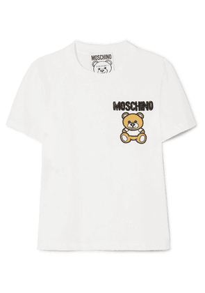 Moschino - Embellished Appliquéd Cotton-jersey T-shirt - White