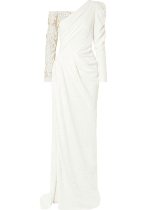 Burnett New York - One-shoulder Embellished Tulle-paneled Crepe Gown - Ivory