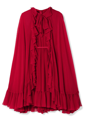 Giambattista Valli - Cape-effect Ruffled Silk-georgette Dress - Red