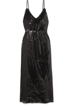 Miu Miu - Open-back Lace-trimmed Sequined Crepe Midi Dress - Black