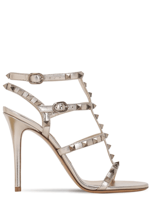 105mm Rockstud Metallic Leather Sandals