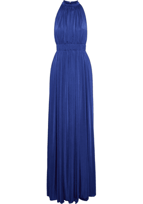 Catherine Deane James Gathered Satin-jersey Gown Woman Bright blue Size 12