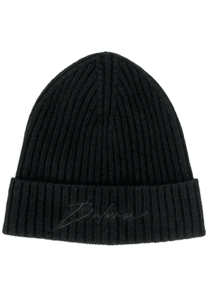 Balmain logo embroidered beanie - Black