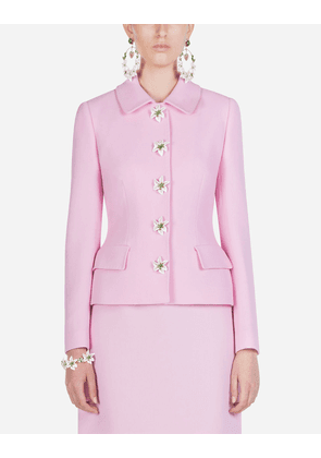 Dolce & Gabbana Blazers - SINGLE-BREASTED CREPE JACKET WITH DECORATIVE BUTTONS PINK