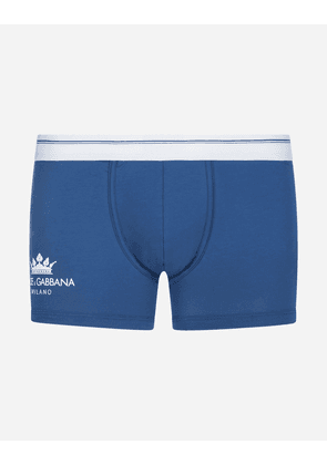 Dolce & Gabbana Underwear and Socks - BOXERS IN STRETCH COTTON PIMA WITH CROWN PRINT LIGHT BLUE