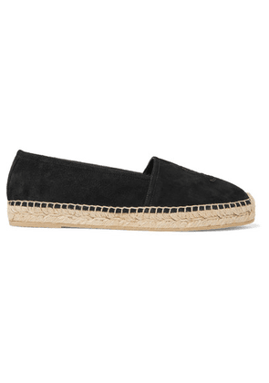 SAINT LAURENT - Logo-embroidered Suede Espadrilles - Black