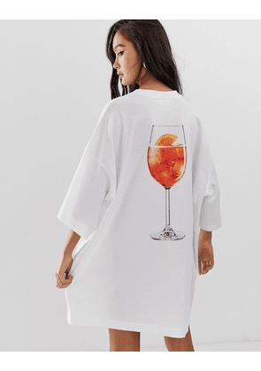 Weekday oversized tee shirt dress in white cocktail print