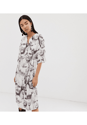 Weekday zip front smock dress with roman face print in white