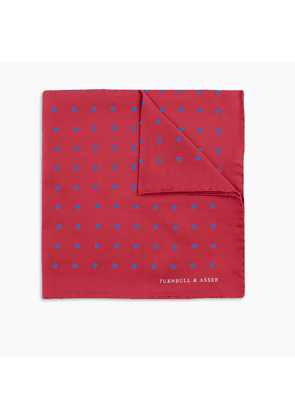 Red and Blue Spot Silk Pocket Square