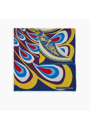 Peacock Power Blue and Yellow Silk Pocket Square