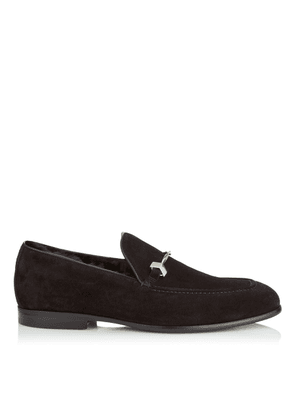 MARTI Black Velvet Suede Loafers with Fur Lining