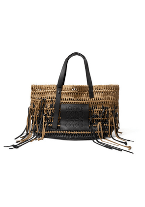 Loewe - Tasseled Woven Leather And Suede Tote - Black