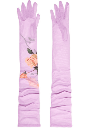 Dries Van Noten - Floral-print Stretch-tulle Gloves - Lilac