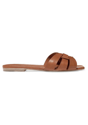 SAINT LAURENT - Nu Pieds Woven Leather Slides - Brown