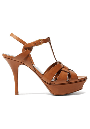 SAINT LAURENT - Tribute Leather Platform Sandals - Tan