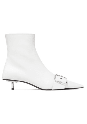 Balenciaga - Belt Leather Ankle Boots - White