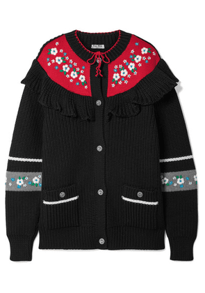 Miu Miu - Ruffled Embroidered Wool Cardigan - Black