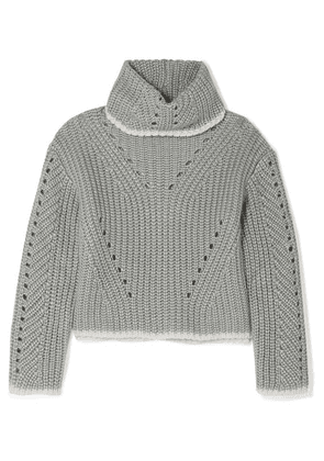 Fendi - Pointelle-knit Silk, Mohair And Cashmere-blend Turtleneck Sweater - Gray